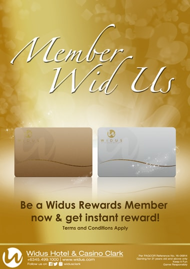 Casino membership at Widus Hotel and Casino Clark Freeport Zone