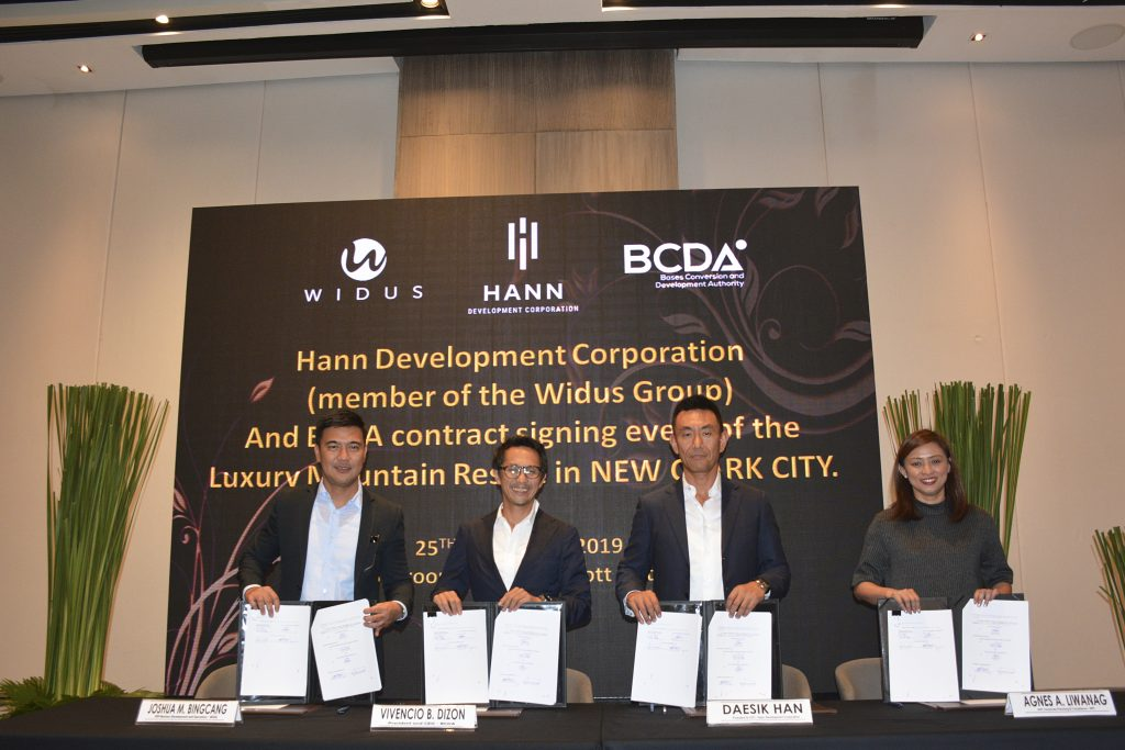 Widus, BCDA sign lease agreement to develop P12-B Hann Lux luxury mountain resort in New Clark City